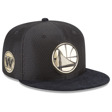 Golden State Warriors New Era NBA On-Court Black Gold Collection 9FIFTY Snapback Cap