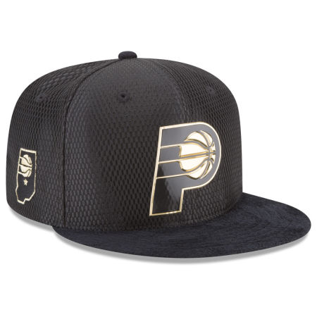 Indiana Pacers New Era NBA On-Court Black Gold Collection 9FIFTY Snapback Cap