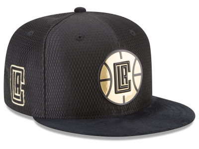 new concept 46988 1f25c Los Angeles Clippers New Era NBA On-Court Black Gold Collection 9FIFTY  Snapback Cap
