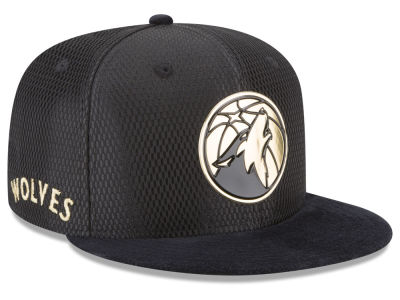 Minnesota Timberwolves New Era NBA On-Court Black Gold Collection 9FIFTY Snapback Cap