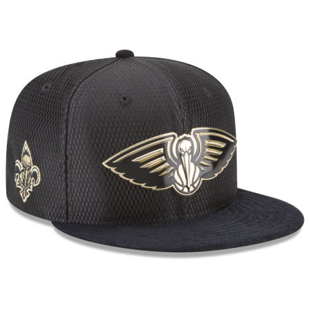 New Orleans Pelicans New Era NBA On-Court Black Gold Collection 9FIFTY Snapback Cap