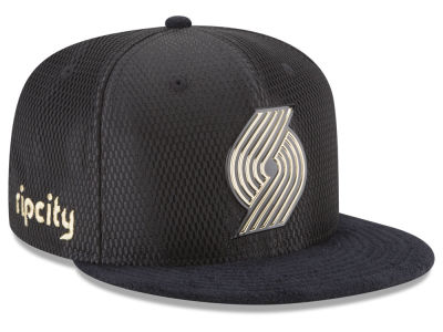Portland Trail Blazers New Era NBA On-Court Black Gold Collection 9FIFTY Snapback Cap