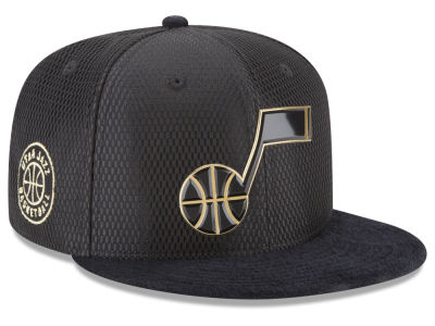 Utah Jazz New Era NBA On-Court Black Gold Collection 9FIFTY Snapback Cap