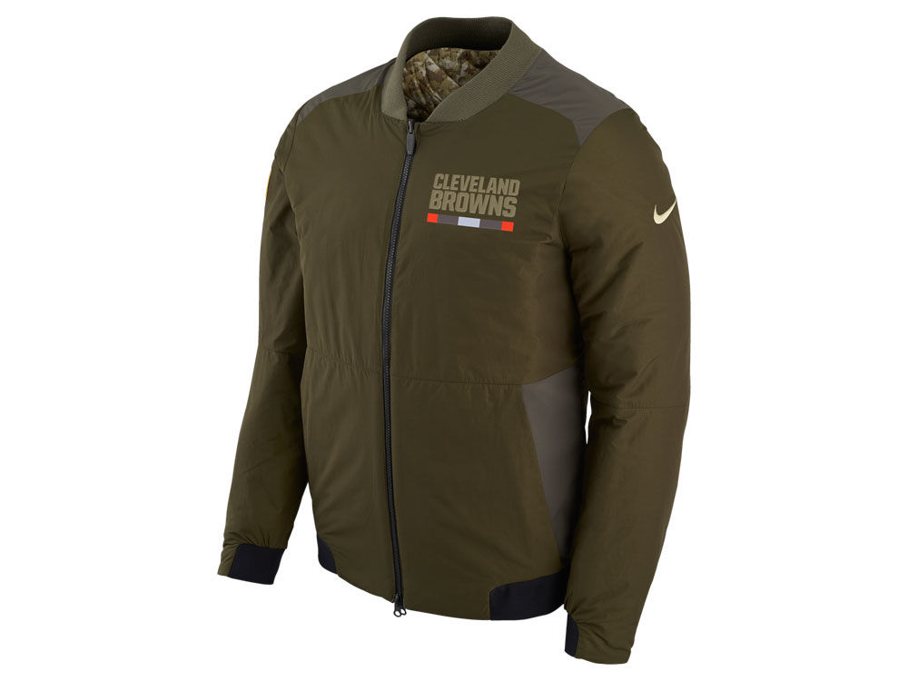 Cleveland Browns Nike 2017 NFL Men s Salute To Service Reversible Bomber  Jacket 4c1185f38