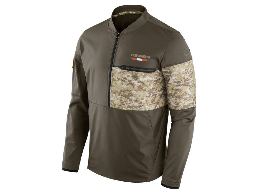 Chicago Bears Nike 2017 NFL Men s Salute To Service Hybrid Half Zip Jacket   93db7cd87