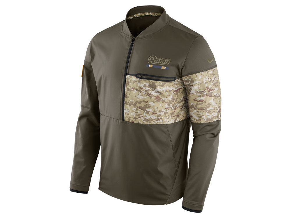 Los Angeles Rams Nike 2017 NFL Men s Salute To Service Hybrid Half Zip  Jacket  5bb18ccb7