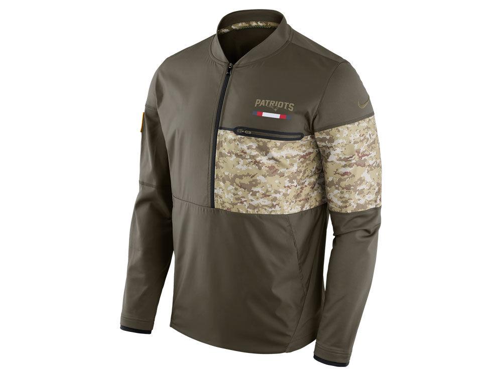New England Patriots Nike 2017 NFL Men s Salute To Service Hybrid Half Zip  Jacket  d2057b614