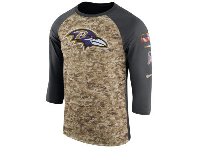 Baltimore Ravens Nike 2017 NFL Men's Salute To Service 3/4 Sleeve Raglan T-Shirt