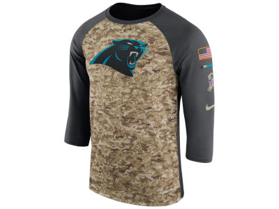 Carolina Panthers Nike 2017 NFL Men's Salute To Service 3/4 Sleeve Raglan T-Shirt