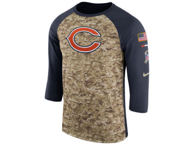 Chicago Bears Nike 2017 NFL Men's Salute To Service 3/4 Sleeve Raglan T-Shirt
