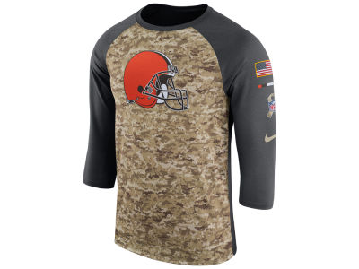 Cleveland Browns Nike 2017 NFL Men's Salute To Service 3/4 Sleeve Raglan T-Shirt