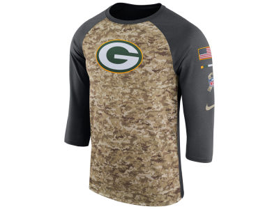 Green Bay Packers Nike 2017 NFL Men's Salute To Service 3/4 Sleeve Raglan T-Shirt