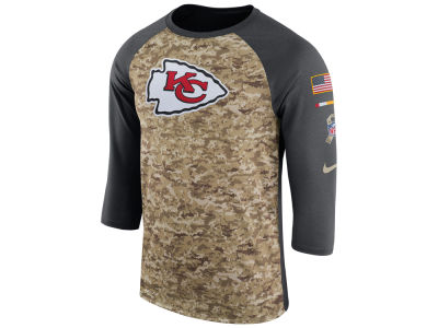 Kansas City Chiefs Nike 2017 NFL Men's Salute To Service 3/4 Sleeve Raglan T-Shirt