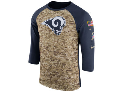 Los Angeles Rams Nike 2017 NFL Men's Salute To Service 3/4 Sleeve Raglan T-Shirt