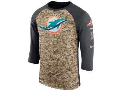 Miami Dolphins Nike 2017 NFL Men's Salute To Service 3/4 Sleeve Raglan T-Shirt
