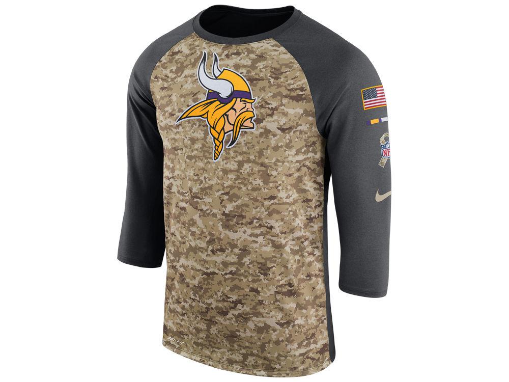 Minnesota Vikings Nike 2017 NFL Men s Salute To Service 3 4 Sleeve Raglan  T-Shirt  31fbd6d1e