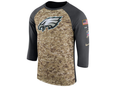 Philadelphia Eagles Nike 2017 NFL Men's Salute To Service 3/4 Sleeve Raglan T-Shirt