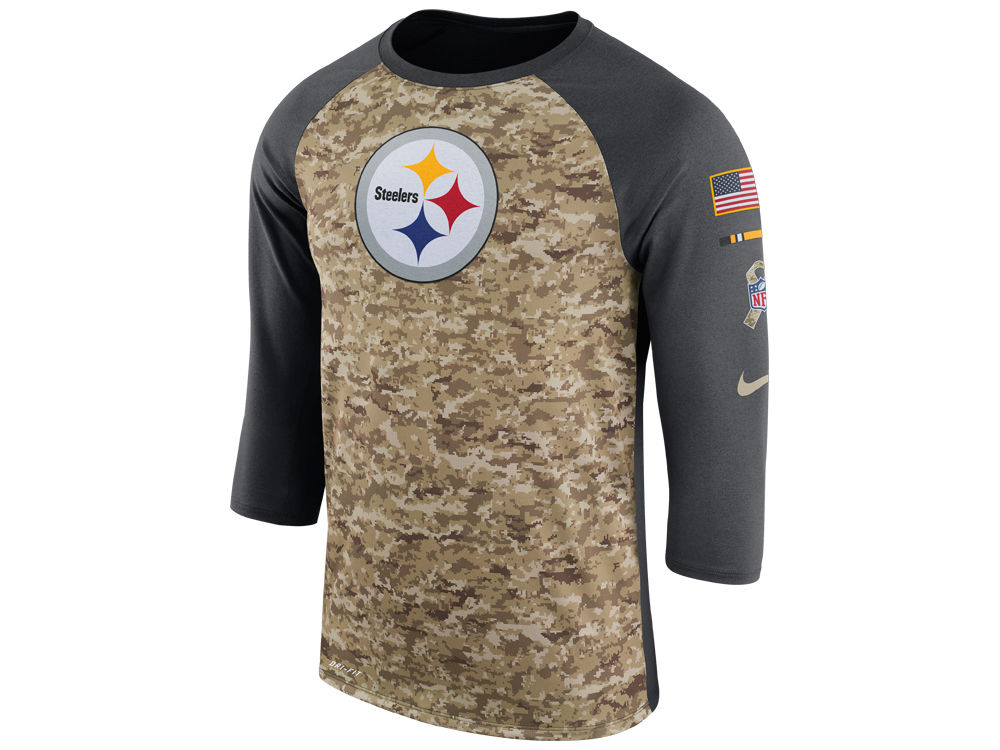 Pittsburgh Steelers Nike 2017 NFL Men s Salute To Service 3 4 Sleeve Raglan  T-Shirt  f8b1dd455