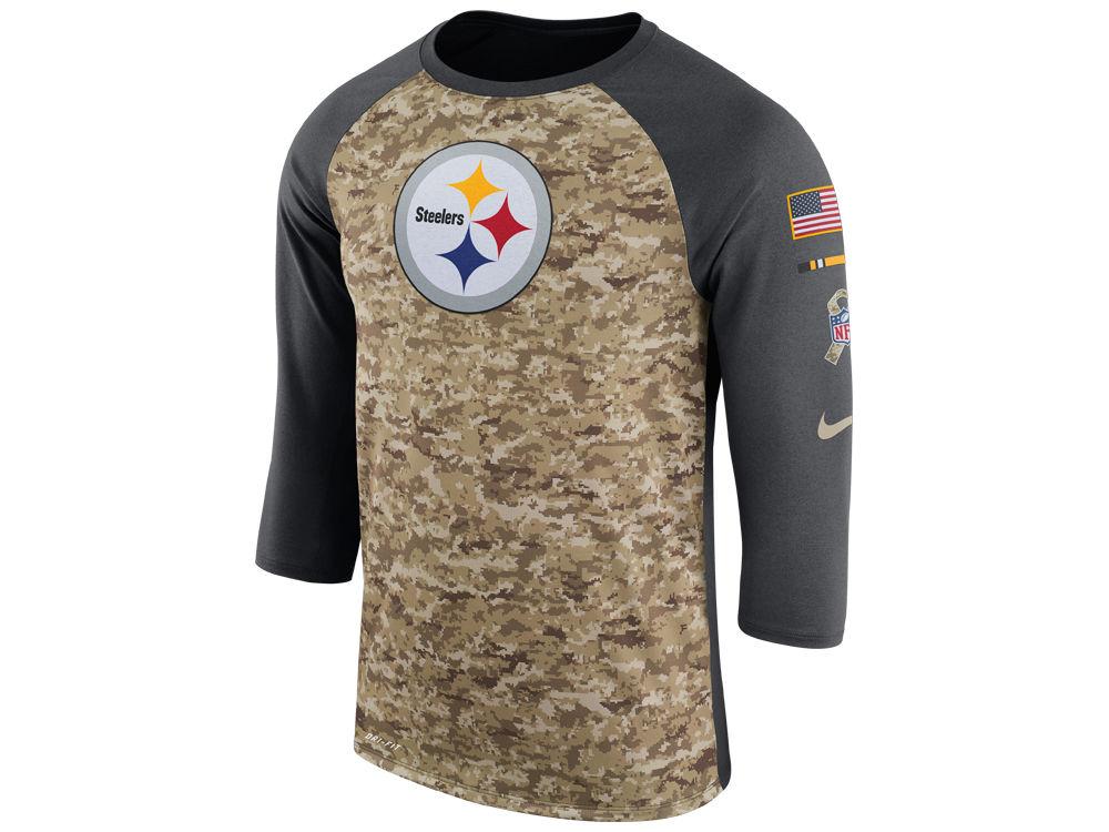 Pittsburgh Steelers Nike 2017 NFL Men s Salute To Service 3 4 Sleeve Raglan  T-Shirt  be2c40800