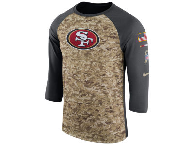 San Francisco 49ers Nike 2017 NFL Men's Salute To Service 3/4 Sleeve Raglan T-Shirt