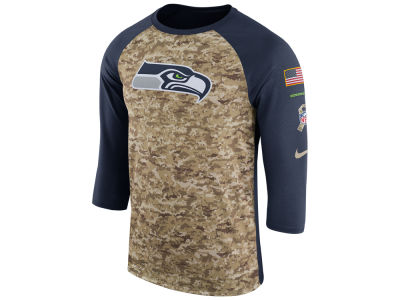 Seattle Seahawks Nike 2017 NFL Men's Salute To Service 3/4 Sleeve Raglan T-Shirt