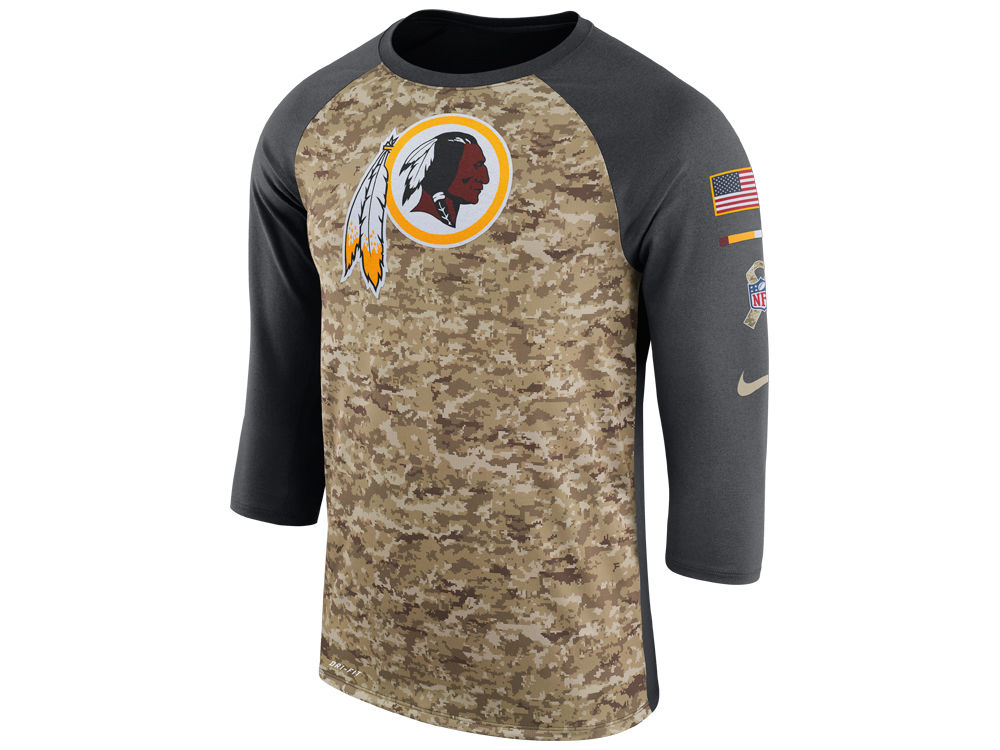 efeab71fb Washington Redskins Nike 2017 NFL Men s Salute To Service 3 4 Sleeve Raglan  T-Shirt