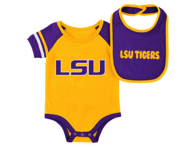 LSU Tigers Colosseum NCAA Newborn Rollout Onesie and Bib Set