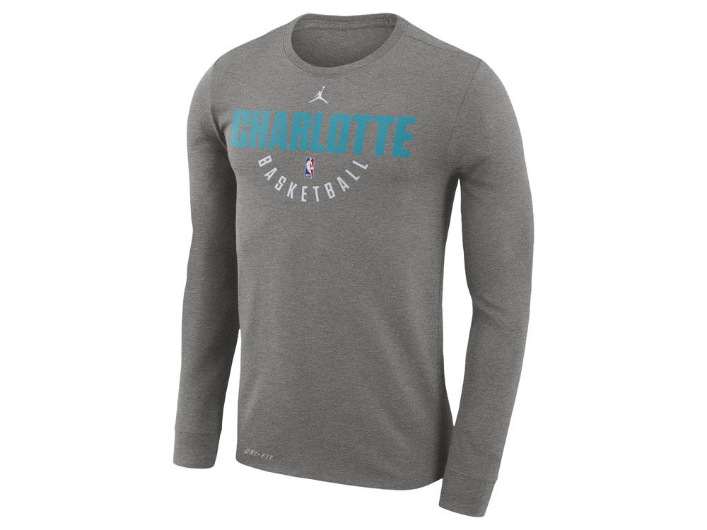 Charlotte Hornets Jordan NBA Men s Long Sleeve Dri-Fit Cotton Practice T- shirt  1b23247f6