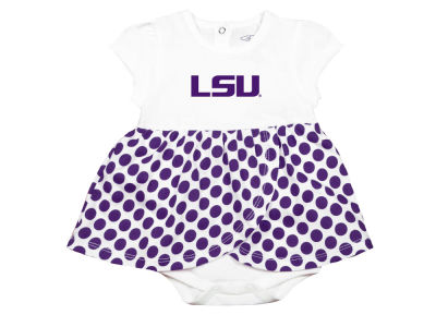 LSU Tigers Garb NCAA Newborn Girls Megan Polka Dot Dress