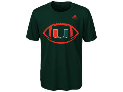 Miami Hurricanes adidas NCAA Youth Sideline Pigskin T-Shirt