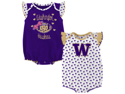 Washington Huskies Outerstuff NCAA Newborn Girls Heart Fan Creeper Set