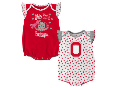 Ohio State Buckeyes Outerstuff NCAA Newborn Girls Heart Fan Creeper Set