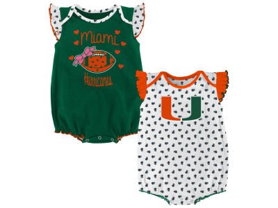 Miami Hurricanes Outerstuff NCAA Newborn Girls Heart Fan Creeper Set