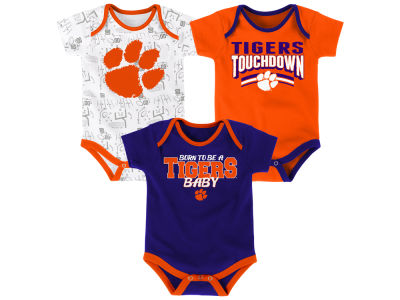 Clemson Tigers Outerstuff NCAA Newborn Playermaker 3 Piece Creeper Set