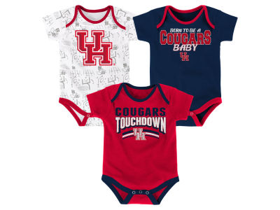 Houston Cougars Outerstuff NCAA Newborn Playermaker 3 Piece Creeper Set