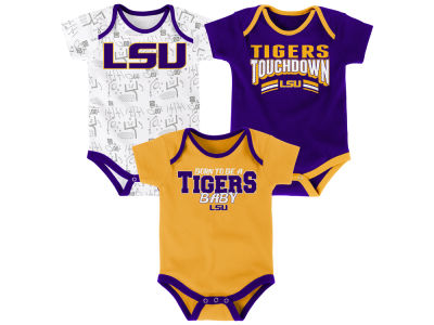LSU Tigers Outerstuff NCAA Newborn Playermaker 3 Piece Creeper Set