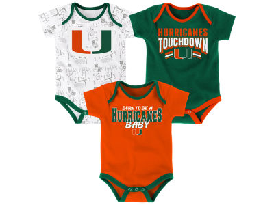 Miami Hurricanes Outerstuff NCAA Newborn Playermaker 3 Piece Creeper Set