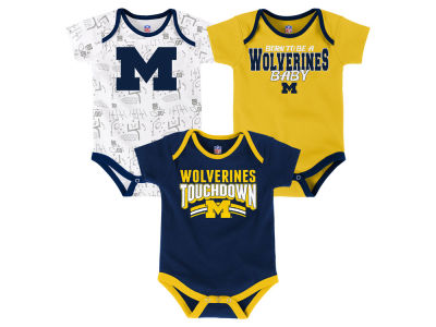 Michigan Wolverines Outerstuff NCAA Newborn Playermaker 3 Piece Creeper Set