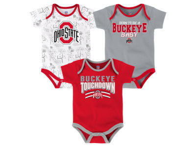 Ohio State Buckeyes Outerstuff NCAA Newborn Playermaker 3 Piece Creeper Set