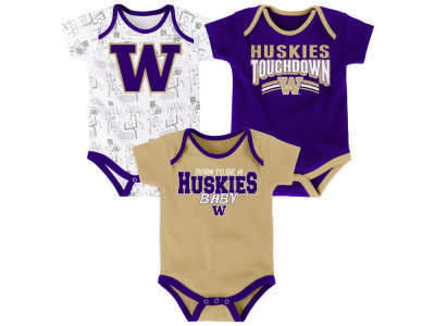 Washington Huskies Outerstuff NCAA Newborn Playermaker 3 Piece Creeper Set