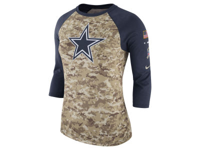 Dallas Cowboys Nike NFL Women's Salute To Service 3/4 Raglan T-Shirt