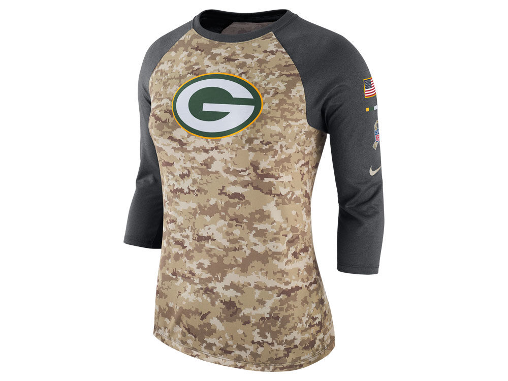 newest 11286 fec8b Green Bay Packers Nike NFL Women's Salute To Service 3/4 Raglan T-Shirt