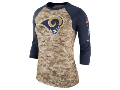 Los Angeles Rams Nike NFL Women's Salute To Service 3/4 Raglan T-Shirt