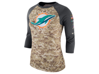 Miami Dolphins Nike NFL Women's Salute To Service 3/4 Raglan T-Shirt