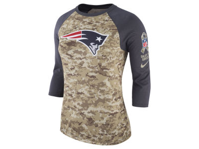 New England Patriots Nike NFL Women's Salute To Service 3/4 Raglan T-Shirt