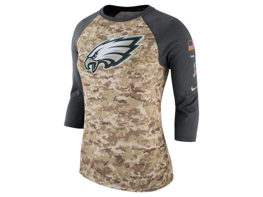 Philadelphia Eagles Nike NFL Women s Salute To Service 3 4 Raglan T-Shirt  ac82f539f
