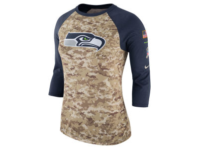 Seattle Seahawks Nike NFL Women's Salute To Service 3/4 Raglan T-Shirt