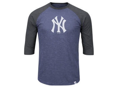 New York Yankees Majestic MLB Men's Big & Tall Grueling Raglan T-Shirt