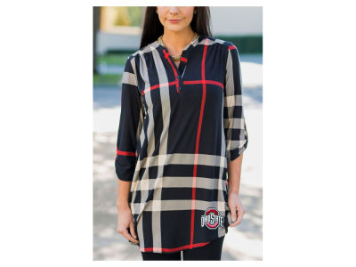 Ohio State Buckeyes Gameday Couture NCAA Women's  Plaid Tunic Shirt