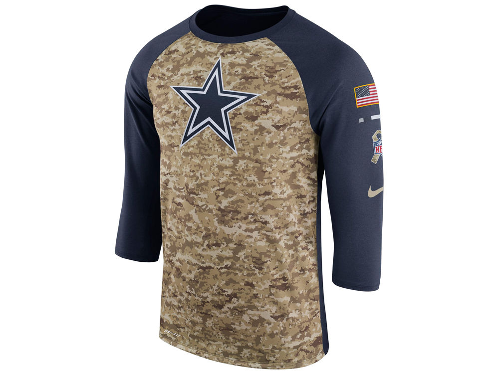 Dallas Cowboys Nike 2017 NFL Men s Salute To Service 3 4 Sleeve Raglan T- Shirt  1b74767f4